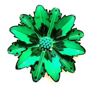 Large Vintage Green Metal Flower Brooch